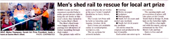Men's Shed Article, Echo Newspaper, 27092017