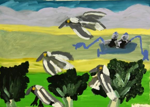 SELWYN CROOK 'MAGPIES & FISHERMAN' Acrylic (2)
